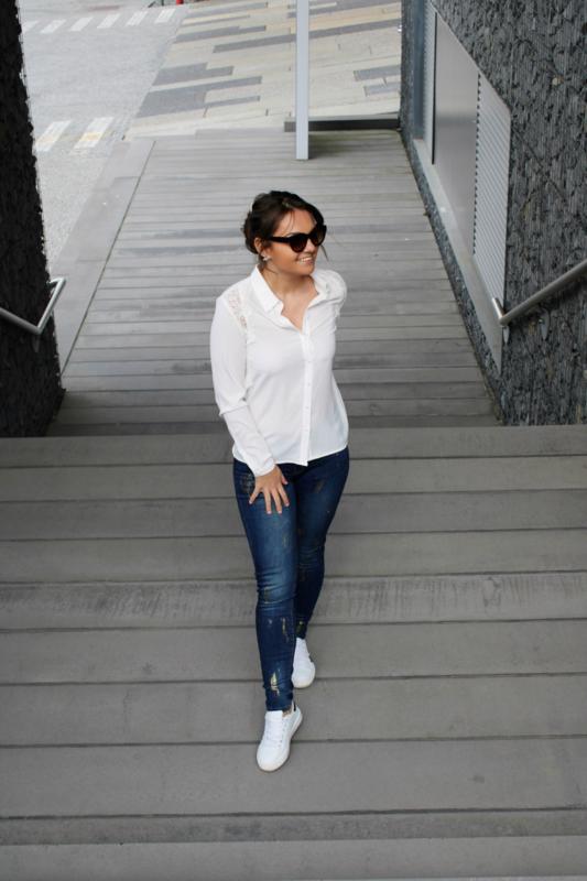 Jeans met goud detail