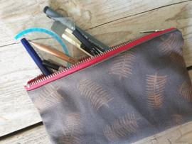Etui - Blaadjespatroon brons metallic
