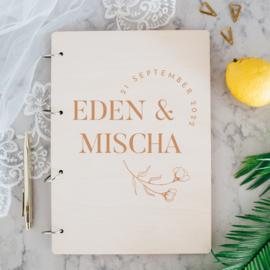 Gastenboek hout - Moderne bloem