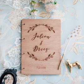 Gastenboek hout - Boho