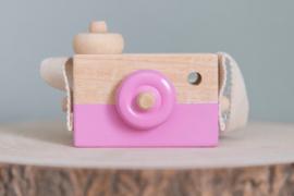 Houten camera donker roze