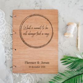Gastenboek hout - Eigen tekst
