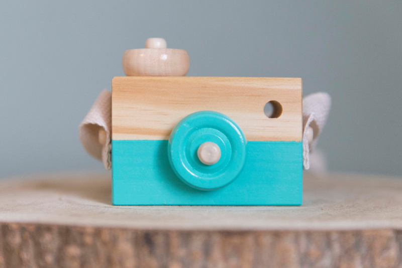 Houten camera mint groen