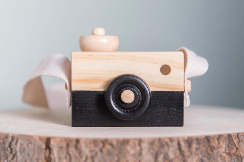 Houten camera zwart