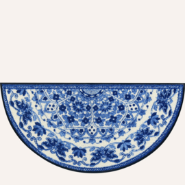 Vloermat Zimra blauw/wit halfrond 42 x 85 cm