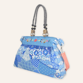Beach bag XL Blauw/wit