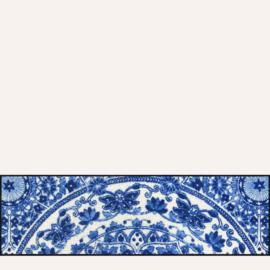 Vloermat Zimra blauw/wit 30 x 100 cm