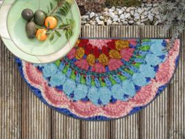 Deurmat crochet halfrond 60 x 120 cm