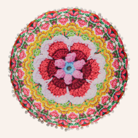 Rond kussen 55 cm Ziyana rood, geel, roze