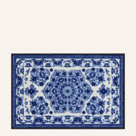 Vloermat Zimra blauw/wit 50 x 75 cm
