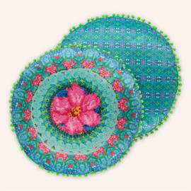 Rond kussen 55 cm Adventures turqoise/roze