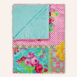 Fleeceplaid 150 x 200 cm aqua/roze Paradise