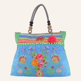 Beachbag XL Wild Rose Turqoise