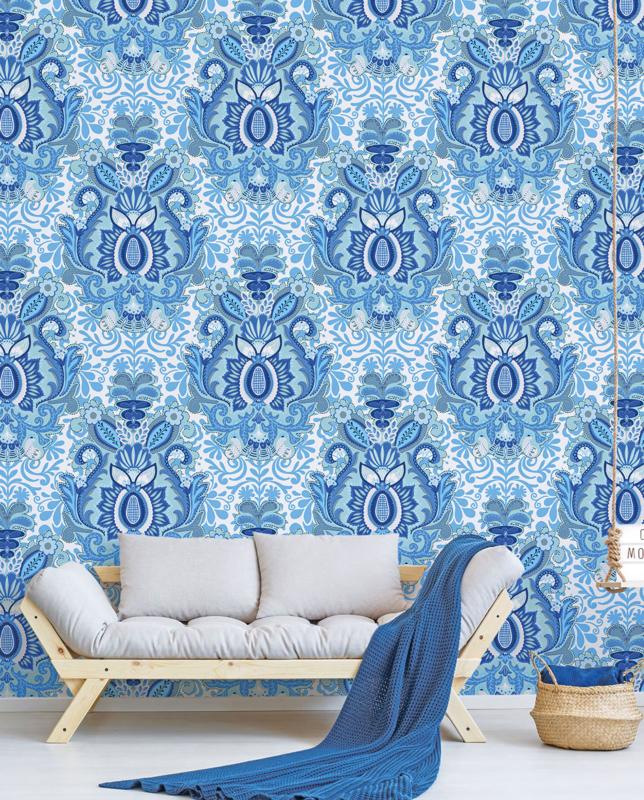 Behang Yogi Blue 100 x 280 cm