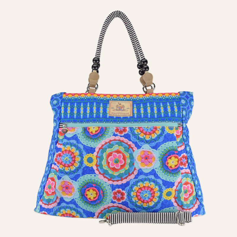 Beachbag XL Doily blauw