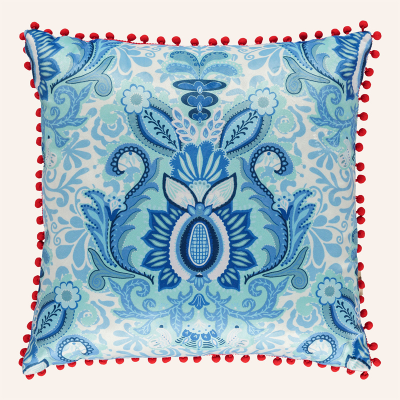 Kussen 48 x 48 cm Yogi blauw