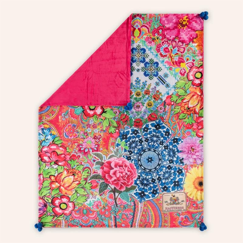 Woondeken/fleeceplaid Zaira, 150 x 200 cm, rood/blauw