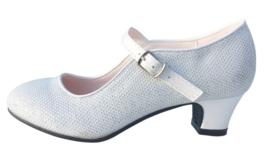 Spaanse schoenen wit/zilver Glamour
