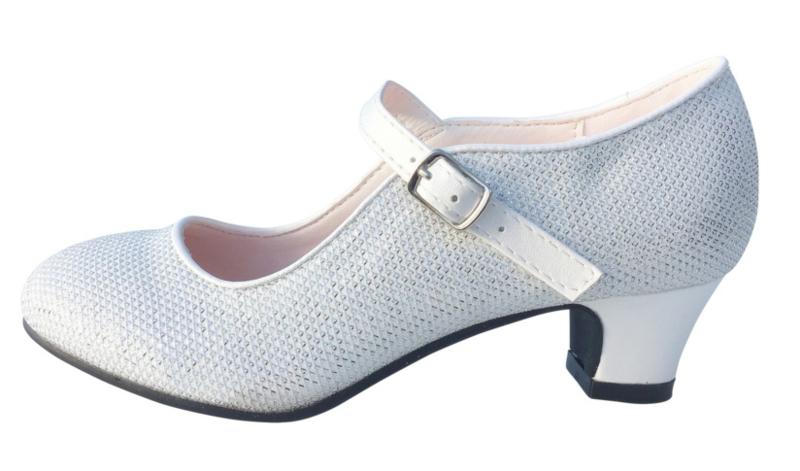 Spaanse schoenen parelmoer wit/zilver Glamour