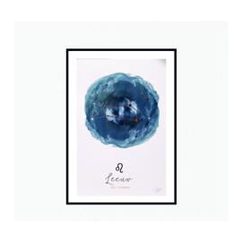 Sterrenbeeld poster - Blauw + Koperfolie
