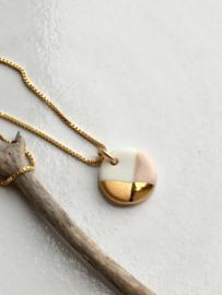 Gold filled ketting  50 cm Fonkel - nude/roze