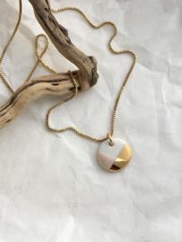 Gold filled ketting  45cm Fonkel - nude/roze