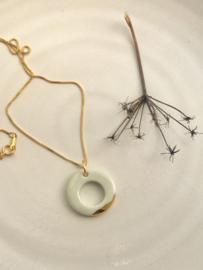 Gold filled ketting  50 cm 'Circles' -  Celadon wit