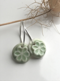 Oorring 925 zilver Retro Flower - celadon