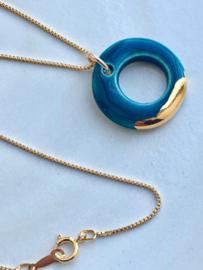 Gold filled ketting  50 cm 'Circles' - Petrol