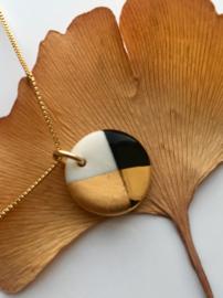 Gold filled ketting  50 cm Fonkel - zwart