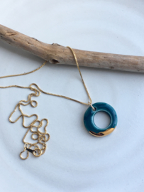 Gold filled ketting  50 cm 'Circles' - Petrol