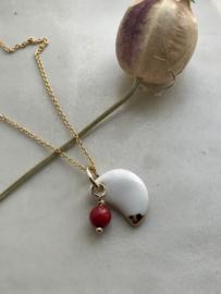 Moon Gold filled ketting 45 cm bloedkoraal