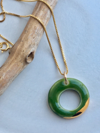 Gold filled ketting  50 cm 'Circles' - Groen