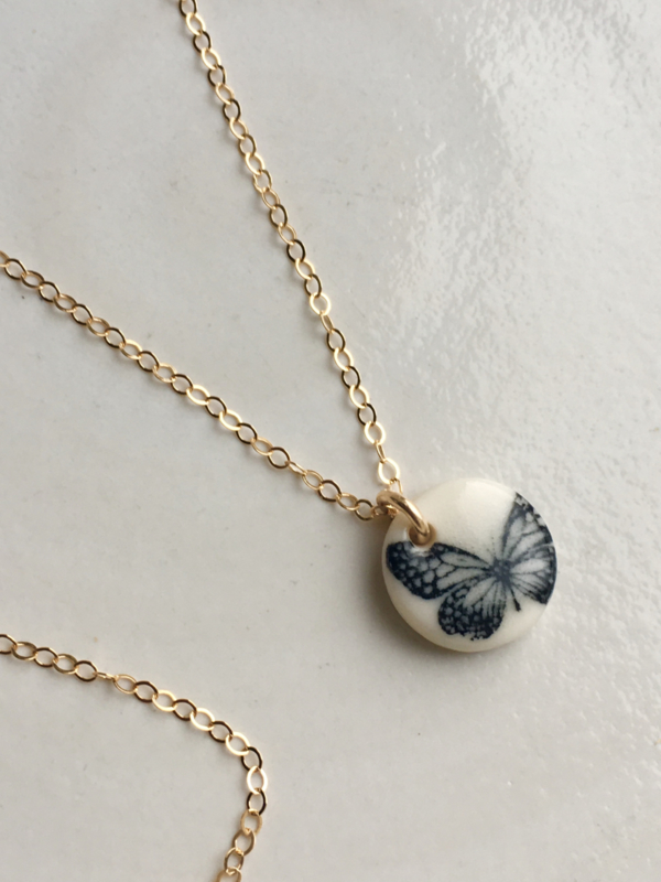 Gold filled ketting  60 cm - Butterfly