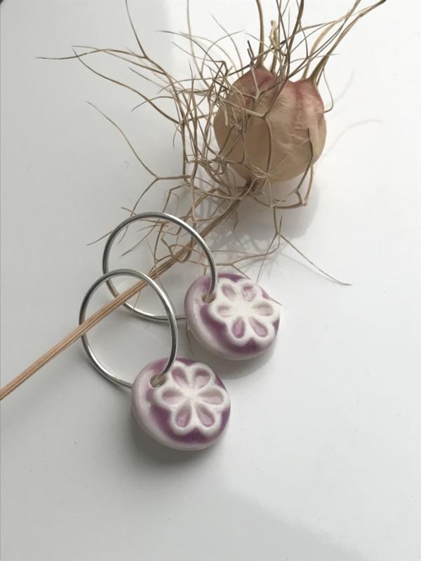 Oorring 925 zilver Retro Flower - lilac/purple