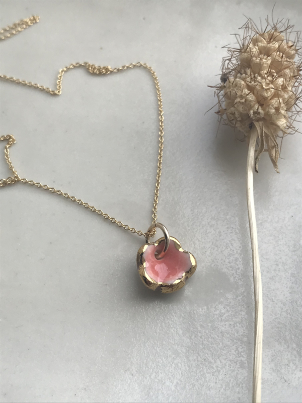 Grace Gold filled ketting 45 cm Pink