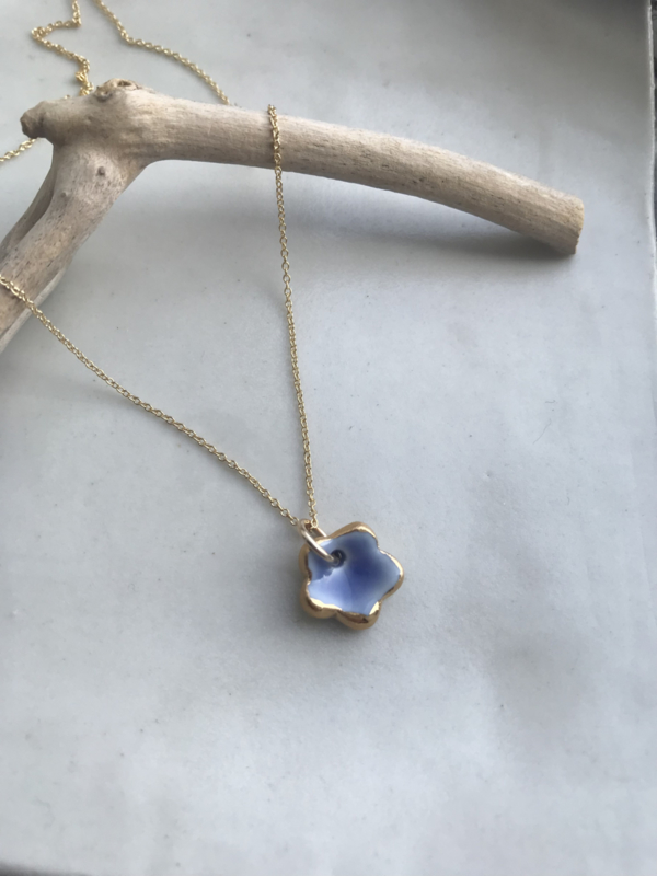 Grace Gold filled ketting 45 cm Blue