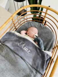 Babydeken Grijs  rib/ Bamboo Welness