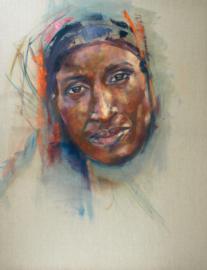 Vrouw Midden Oosten -2 - reproductie op kunstposter