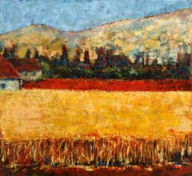 Jesaja 35-1: 'De  woestijn zal bloeien als een roos' - reproductie op canvas