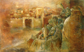 Psalm 122 - 'Vrede over Jeruzalem' - canvas reproductie