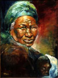 Ghanese oma met kleinkind - reproductie op kunstposter