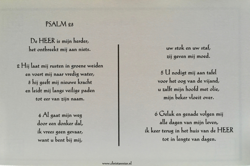 kaart met toelichting psalm 23