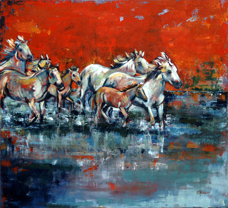 Swamp horses - reproduction on canvas