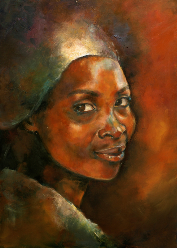 Zambian girl - reproduction on canvas