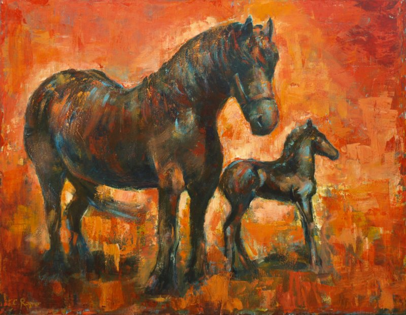 Horse and foal - reproduction on canvas