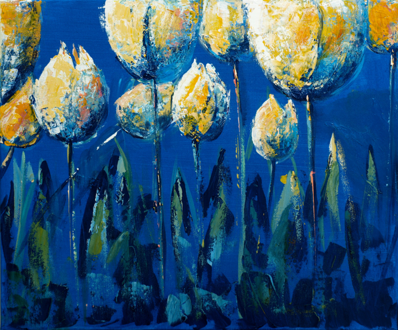 Tulips yellow/blue - reproduction on art poster