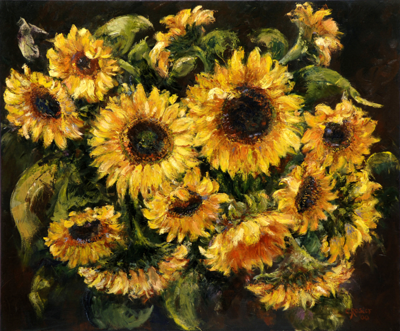 Sunflowers - reproduction on art poster