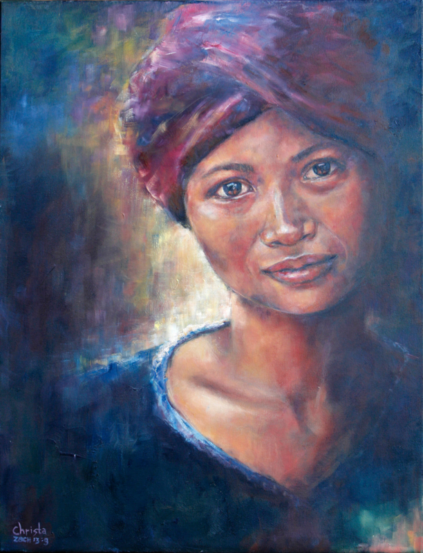 Cambodian woman - reproduction on canvas