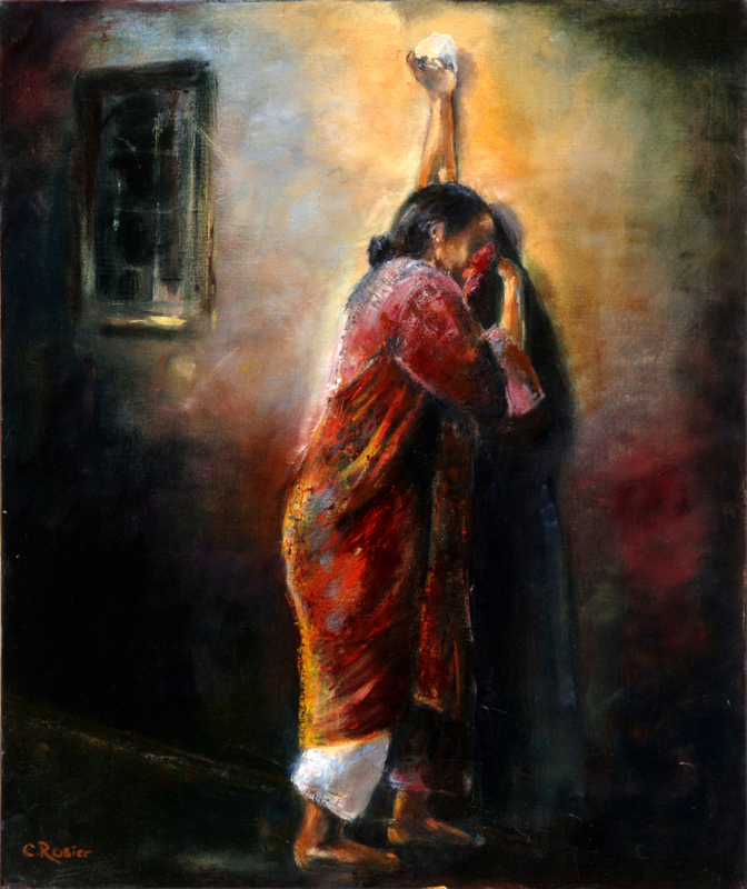 Weeping woman - reproduction on canvas
